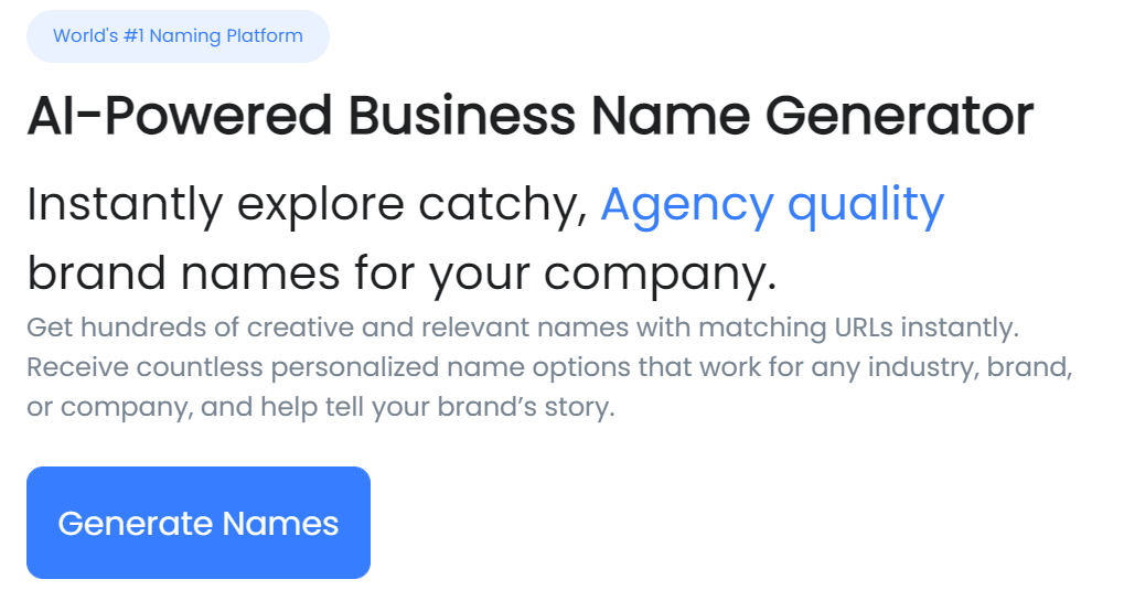 Squad Help business name Generator