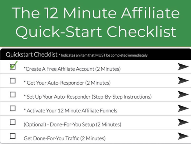 12 minute affiliate checklist