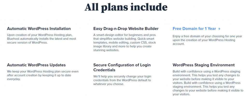 Bluehost WordPress Hosting features